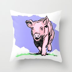 Running PIG Throw Pillow