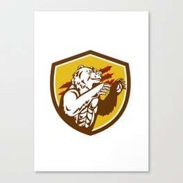 California Grizzly Bear Smirking Claw Marks Crest Retro Canvas Print