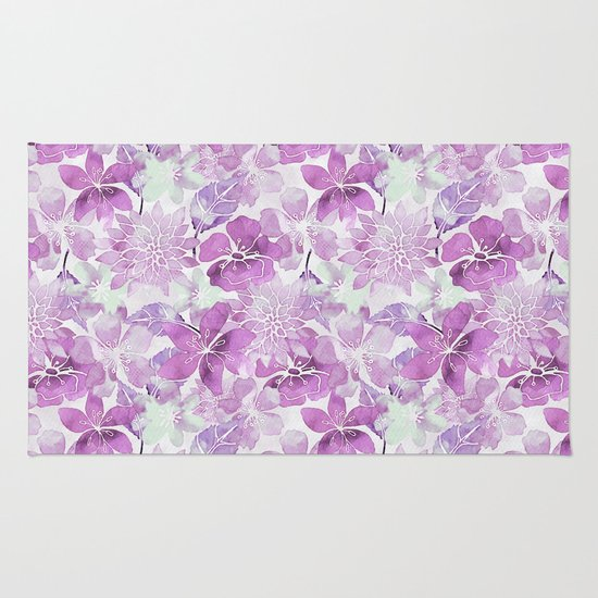 Soft Pink Pastel Watercolor Flower Pattern Rug By