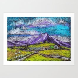 Abstract landscape with mountains and fields by pastel Art Print