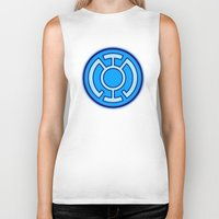 lantern Biker Tanks featuring Green Lantern: Blue Lantern by The Barefoot Hatter