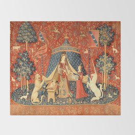 Lady and The Unicorn Medieval Tapestry Throw Blanket