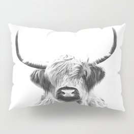 Black and White Highland Cow Portrait Pillow Sham