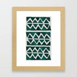 Teal Triangles Framed Art Print