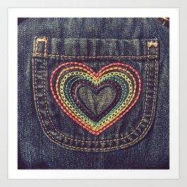 Embroidered Rainbow Heart Pocket Art Print