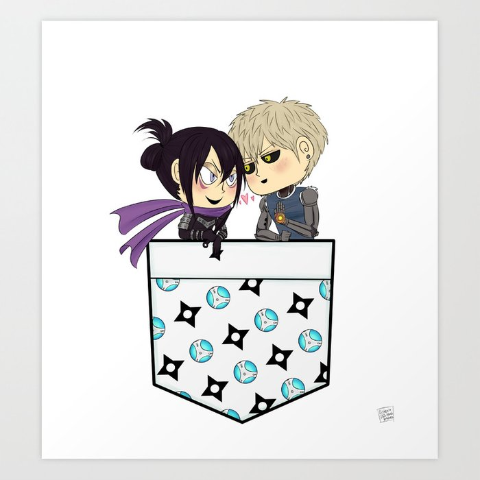 One Punch Man Genos And Sonic Pocket Chibis Art Print