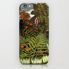 Exotic Jungle Landscape with Monkeys and Birds by Henri Rousseau iPhone Case