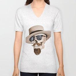 Hipster Skull in Black and White Unisex V-Neck