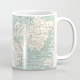 World Map in Blue and Cream Coffee Mug