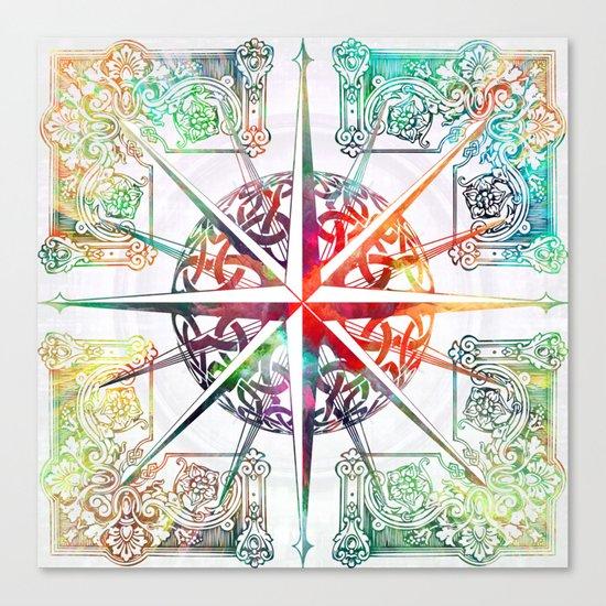 Travellers Spirit Colourful Celtic Compass Design Canvas Print