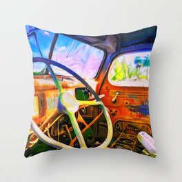 Old Truck Interior Throw Pillow