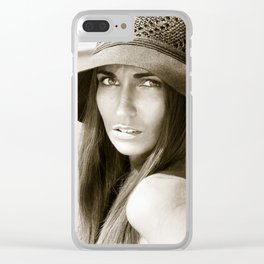 Woman in hat Clear iPhone Case