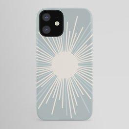 Minimalist Sunburst in Light Blue-Gray and Cream iPhone Case