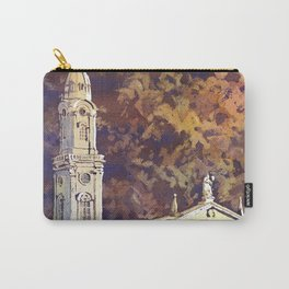 Watercolor painting of steeple of 13th century Church of the Holy Spirit city of Heidelberg, Germany Carry-All Pouch