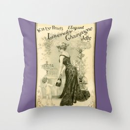Kitty Pearl's Elegant Lavender Champagne Jelly Throw Pillow