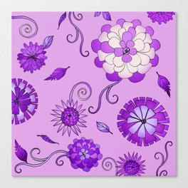 Purple Crazy Daisy pattern Canvas Print