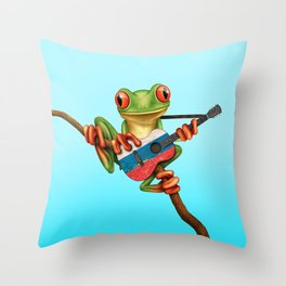Tree Frog Playing Acoustic Guitar with Flag of Russia Throw Pillow