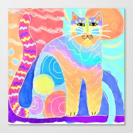 Psychedelic Kitty Abstract Digital Painting Canvas Print