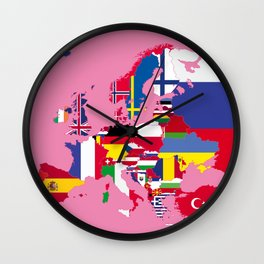 Europe flags pink Wall Clock