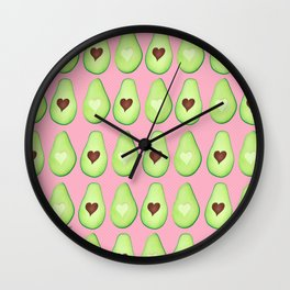 Avocado Love Pattern Wall Clock