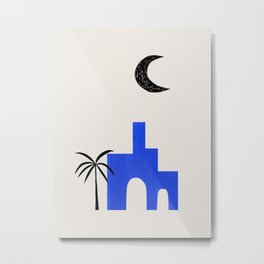 Ultramarine Blue Minimalist Modern Mid Century Ancient Ruins Architecture Moon Lit Palm Trees by Ejaaz Haniff Metal Print
