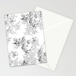PEACOCK LILY TREE AND LEAF TOILE GRAY AND WHITE PATTERN Stationery Cards
