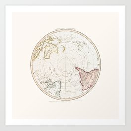 Southern Hemisphere - reproduction of William Faden's 1790 engraving Art Print