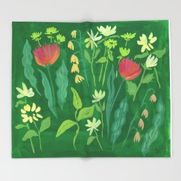 Sweet Flowers and Stems Throw Blanket