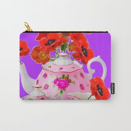 DECORATIVE PORCELAIN & RED  POPPIES FLORA  ART Carry-All Pouch
