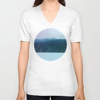 oregon V-neck T-shirts featuring Oregon Winter by Leah Flores