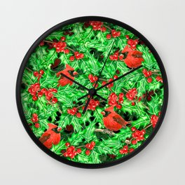 Cardinals and holly berry Wall Clock