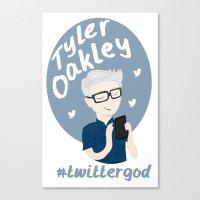 tyler oakley Canvas Prints featuring Tyler Oakley #twittergod by Plum Wild