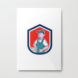 Bricklayer Mason Plasterer Shield Cartoon Metal Print