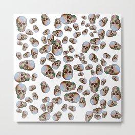 Happy Skull Random Pattern (White) Metal Print
