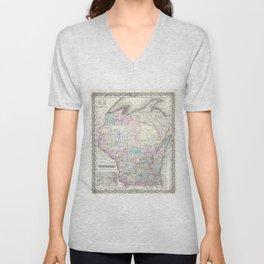 Vintage Map of Wisconsin (1855) Unisex V-Neck