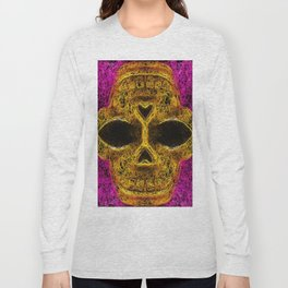 psychedelic geometric painting golden skull head with pink background Long Sleeve T-shirt