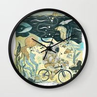 cycling Wall Clocks featuring Cycling in the Deep by Dushan Milic