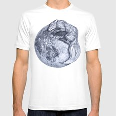 Blue Moon Fox White SMALL Mens Fitted Tee