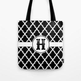 Black Monogram: Letter H Tote Bag