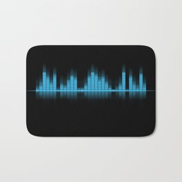 Cool Blue Graphic Equalizer Music on black Bath Mat
