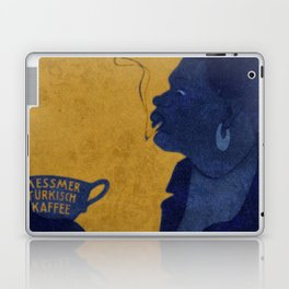 Vintage Blue and Yellow Turkish Coffee Woman with Cigarette Laptop & iPad Skin