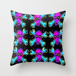 NEON ACID BONES Throw Pillow