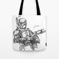 boba fett Tote Bags featuring Boba Fett by Leamartes