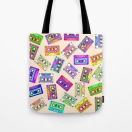 Retro 80's 90's Neon Patterned Cassette Tapes Tote Bag