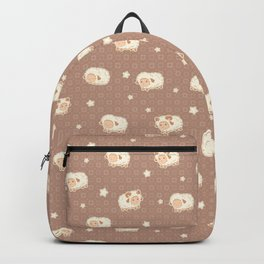 Cute Little Sheep on Brown Backpack