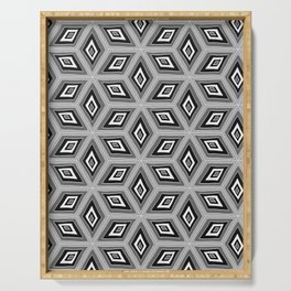 Silver and Black Tilted Cubes Pattern Serving Tray