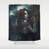 revolution Shower Curtains featuring Ophéliac Revolution by Erica Petit Illustrations