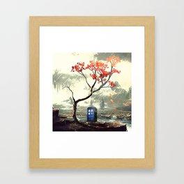 Tardis With A Tree Framed Art Print