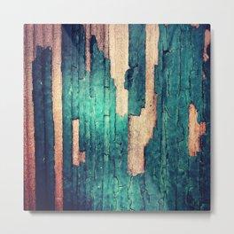 Green Paint Peel Texture Metal Print