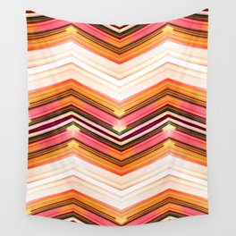 Geometric Wave - Red Orange Futuristic Geometric Abstract Wall Tapestry